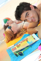 Young people on a beach