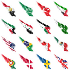 Set of flags on wings and white background