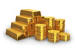 Stacks of golden ingots and coins