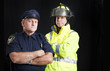 Fireman and Policeman with Copyspace - 33325390