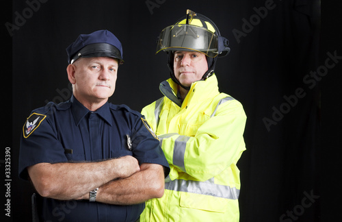 Fireman and Policeman with Copyspace