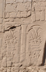 Bas-relief of  palm trees.