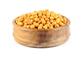Deep fried spiced chick peas in a wooden bowl