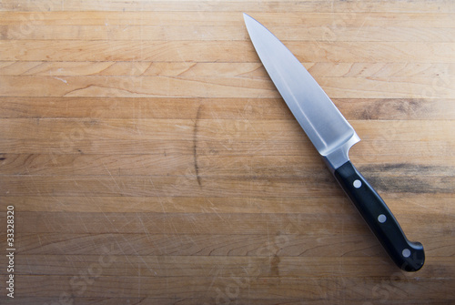 Papiers peints Table preparee Butcher Knife on Counter Top