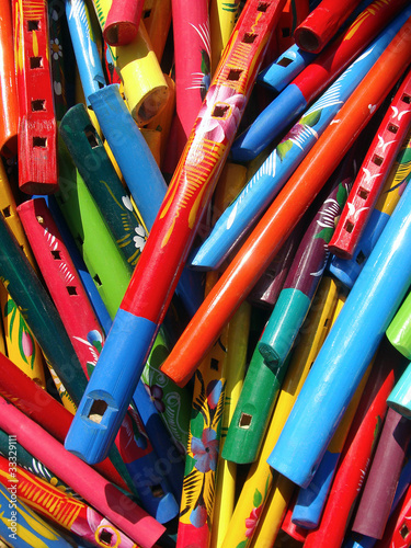 Market colors in Mexico: Flutes - 33329111