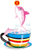 dolphin in the rainbow cup