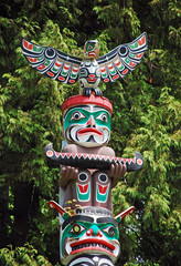Colorful totem pole in Vancouver, Canada