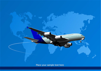 Blue abstract background with passenger plane and world map imag