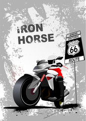 Grunge gray background with motorcycle image. Vector illustratio