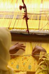 Top view of hand weaving