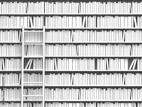 Tuinposter Bibliotheek 本棚とはしご