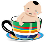 baby boy in cup crying