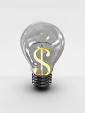 Light bulb with a dollar sign isolated on white background. 3D