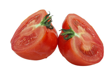 Two freshly cut halves of tomato isolated on white