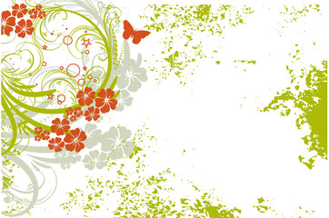 floral grunge vert et orange