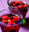 Closeup of berry jelly in glasses
