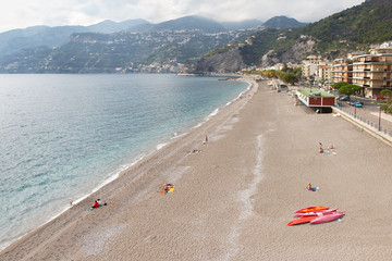 Italy, Amalfi Coast. The beach in Maiori