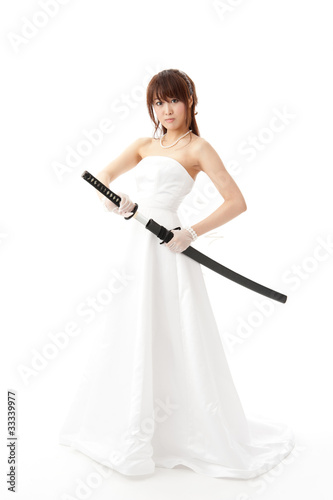 beautiful asian bride with japanese sword