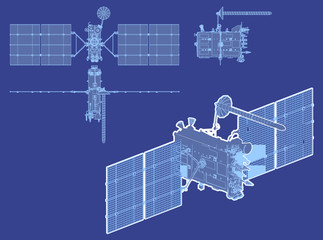 Vector hi-detailed glonass satellite
