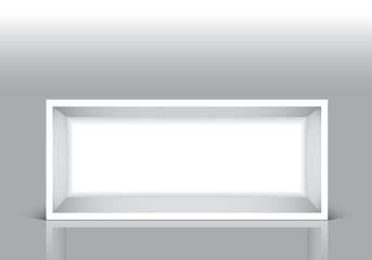 Rettangolo bianco contenitore su fondo grigio
