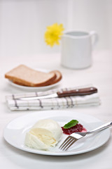 mozzarella with cranberry sauce, in background bread and flower