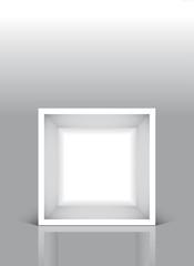 Cubo bianco vuoto su fondo grigio