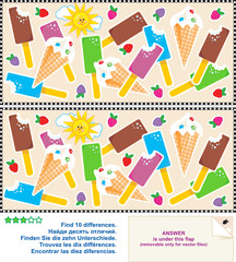 Find the differences visual puzzle - ice cream bars and cones