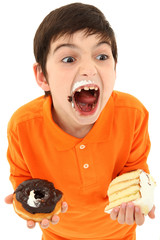 Attractive Boy Enjoying Sweets