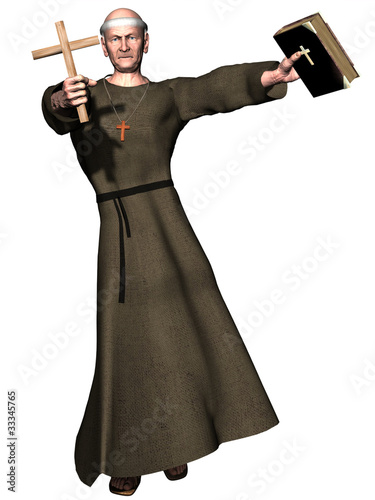 Elderly monk brandishing cross and bible