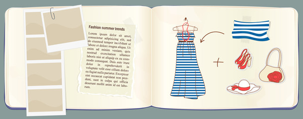 Vector notebook with fashion accessories