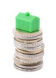 House on the top of the euro coins with clipping path