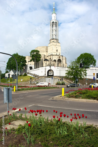 Leinwanddruck Bild Crossroads near the church of st. Roch in Bialystok, Poland