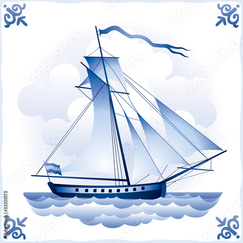 Ship on the Blue Dutch tile 6, yacht