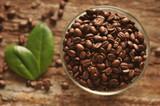 Fototapety Ziarna kawy w szklanym naczyniu