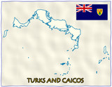 Turks and Caicos political division national emblem flag map poster