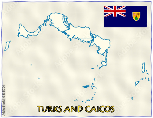 Turks and Caicos political division national emblem flag map