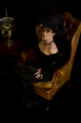 adelige Witwe im Sessel
