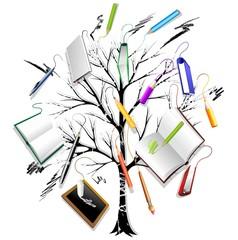 Albero con libri e Matite-Tree With Books and Pencils-Vector