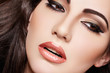 Sensual arabic woman model. Beautiful skin, saturated makeup