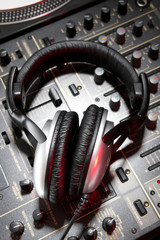 Dj headphones on mixer