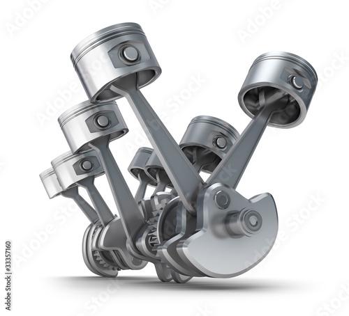 Tłoki silnika V8. Obraz 3D.