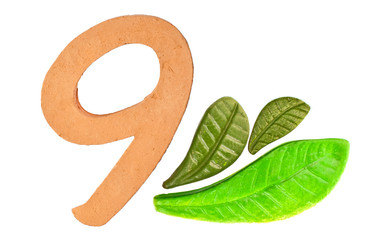 nine 9 numeric and leaves made from clay in pottery technique