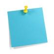 Blauer Merkzettel mit gelbem Pin