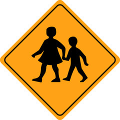Children crossing school warning sign