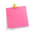 Pinker Merkzettel mit gelbem Pin