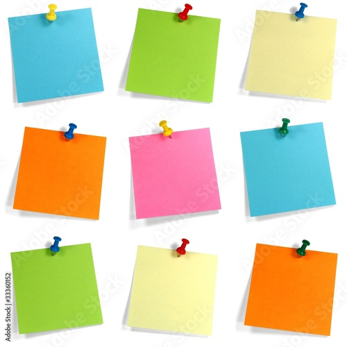Leinwanddruck Bild Buntes Notizzettel Set