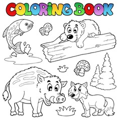 Coloring book with woodland animals