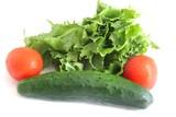 insalata, pomodori e cetriolo
