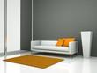 weisses Sofa mit orangenem Kiseesn
