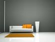 Wohndesign - weisses Sofa vor grauer Wand